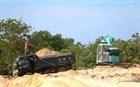 Bắt quả tang vụ khai thác cát núi trái phép