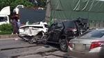 Kinh hoàng khoảnh khắc 9 xe ô tô đâm liên hoàn trên QL1A