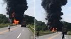 Xe chở xăng bốc cháy dữ dội trên cao tốc Nội Bài-Lào Cai